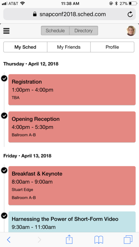 Snap Conference 2018 Mobile Schedule