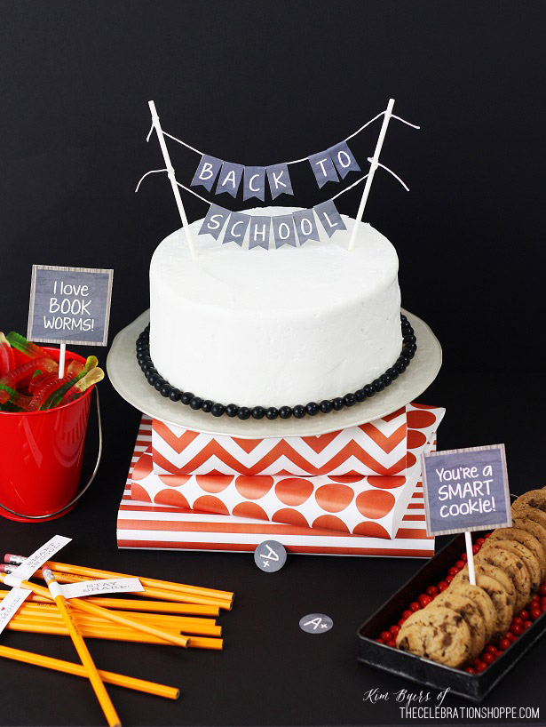 back to school cake and printables