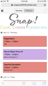 Snap 2018 Mobile Schedule